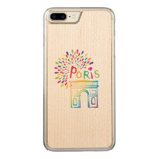 Diseño de neón de París Francia el | Arco del Funda Para iPhone 8 Plus/7 Plus De Carved