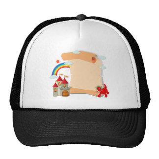 Diseño de papel con el dragón y el castillo gorras de camionero