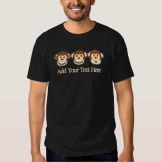 Diseño de tres monos camisas