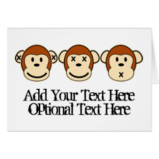 Diseño de tres monos tarjeta de felicitación