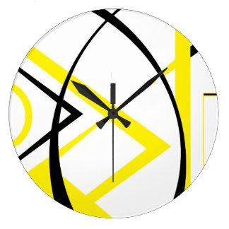 Diseño de Yellow&Black Reloj Redondo Grande