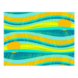 Diseño decorativo azul y amarillo postal