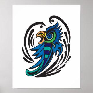 Diseño decorativo del tatuaje del pájaro póster