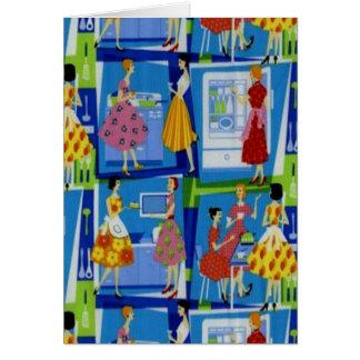 diseño del ama de casa de los años 50 tarjeta de felicitación
