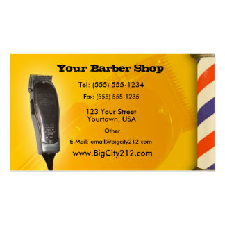 Diseño del amarillo de la peluquería de caballeros tarjeta de visita