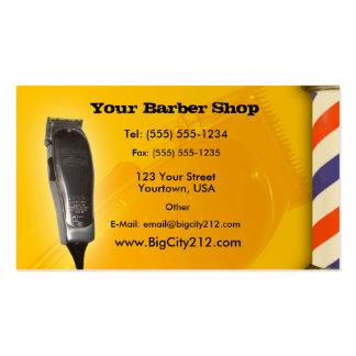 Diseño del amarillo de la peluquería de caballeros tarjetas de visita