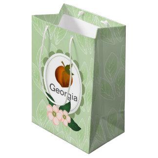 Diseño del arte de la fruta del melocotón de bolsa de regalo mediana
