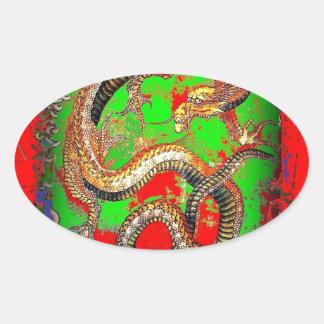Diseño del arte del DRAGÓN rojo y verde por SHARLE Calcomania Oval