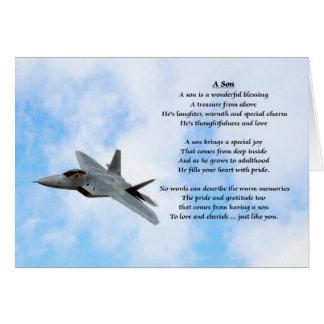 Diseño del avión - poema del hijo tarjeta de felicitación