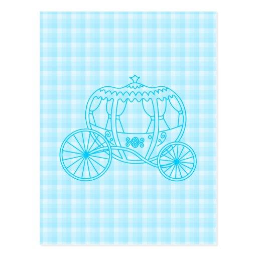 Diseño del carro del cuento de hadas en azules tur tarjetas postales