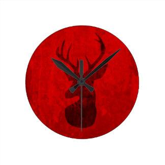 Diseño del ciervo común reloj redondo mediano