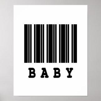 diseño del código de barras del bebé poster