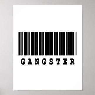 diseño del código de barras del gángster póster