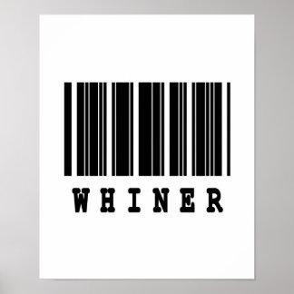 diseño del código de barras del whiner poster