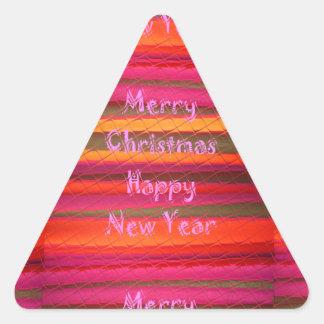 Diseño del color de la lona de la Feliz Año Nuevo Pegatina Triangular