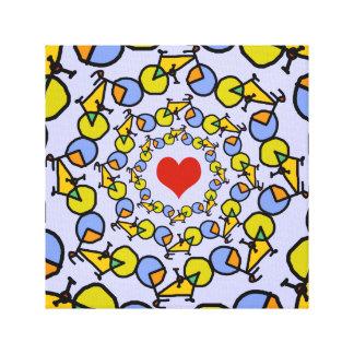 Diseño del color de las bicicletas del corazón I Lienzo Envuelto Para Galerias