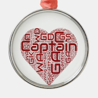 Diseño del corazón de las posiciones del Netball Adorno Navideño Redondo De Metal