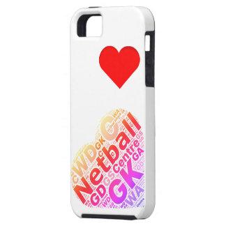 Diseño del corazón del Netball del amor Funda Para iPhone SE/5/5s