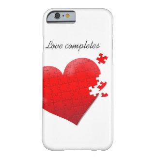 diseño del corazón del rompecabezas del amor de la funda de iPhone 6 barely there