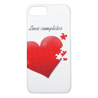 diseño del corazón del rompecabezas del amor de la funda iPhone 7
