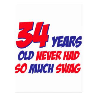 diseño del cumpleaños de 34 años postal