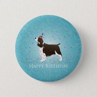 Diseño del cumpleaños del perro de aguas de chapa redonda de 5 cm