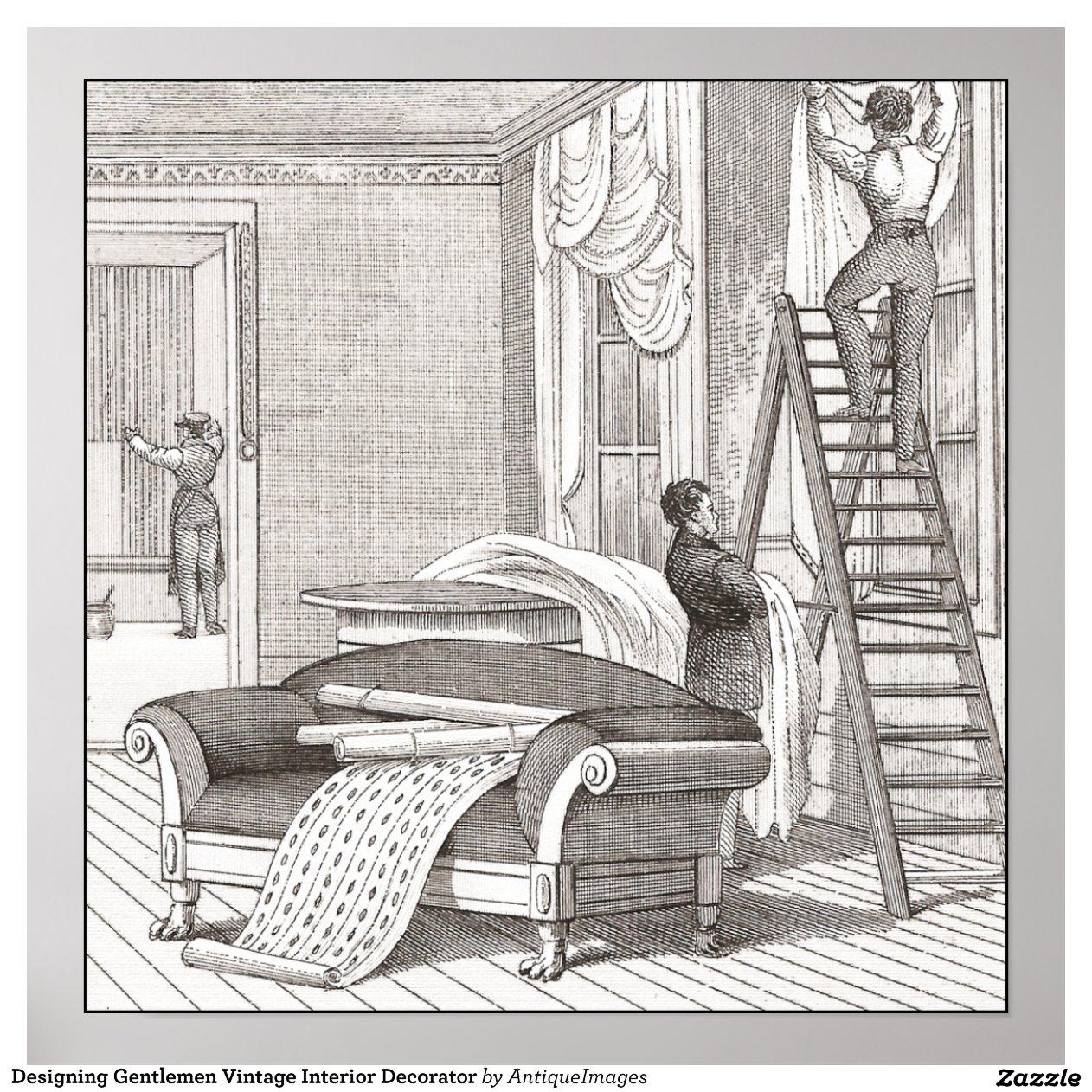 Dise o del decorador de interiores del vintage de posters for Decorador de interiores hernani