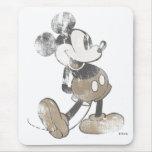 Diseño del desastre del vintage de Mickey Mouse Tapetes De Raton