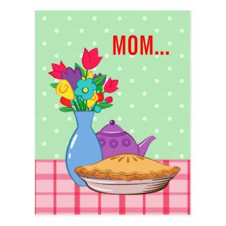 Diseño del día de madre con la flor, la empanada y postal
