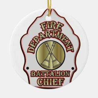 Diseño del escudo del batallón del cuerpo de adorno navideño redondo de cerámica