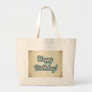 Diseño del feliz cumpleaños bolsa tela grande