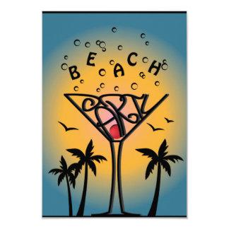 Diseño del fiesta de la playa invitación 8,9 x 12,7 cm
