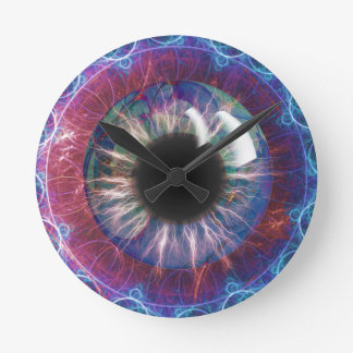 Diseño del fractal del ojo de Tesla Reloj Redondo Mediano