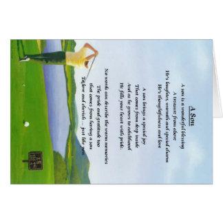 Diseño del golf - poema del hijo tarjeta de felicitación