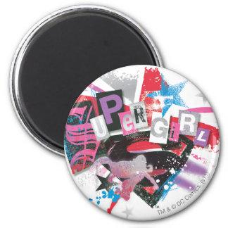 Diseño del Grunge de Supergirl Imán Redondo 5 Cm