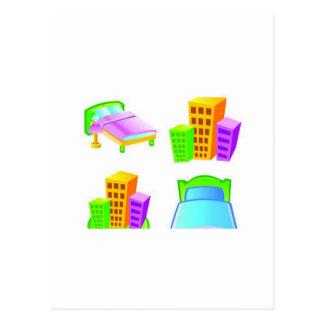 Diseño del icono del hotel tarjetas postales