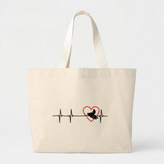 diseño del latido del corazón del motocrós bolsa de tela grande