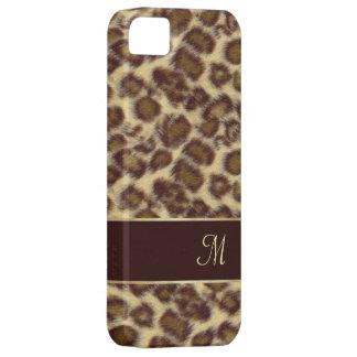 Diseño del leopardo con su inicial iPhone 5 Case-Mate protectores