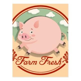 Diseño del logotipo con el cerdo gordo postal
