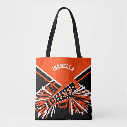 Diseño del naranja, negro y blanco de la animadora bolsa de tela