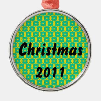 Diseño del navidad adorno redondo plateado