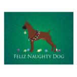 Diseño del navidad de Feliz Naughty Dog del perro Postal
