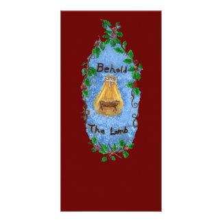Diseño del navidad de Jesús del bebé del acebo del Tarjetas Fotográficas Personalizadas