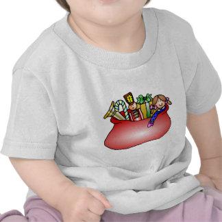 Diseño del navidad del saco del juguete de Santa Camiseta
