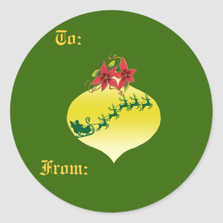 Diseño del ornamento de Santa y del trineo Pegatina Redonda