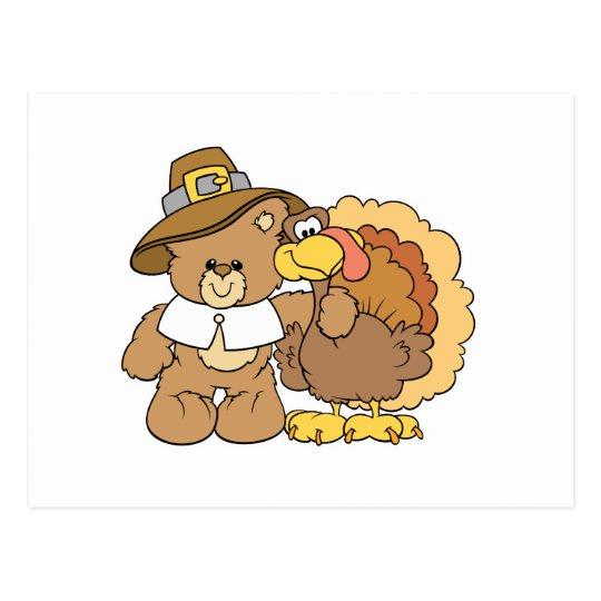 diseño del oso de peluche del pavo de la acción de postal