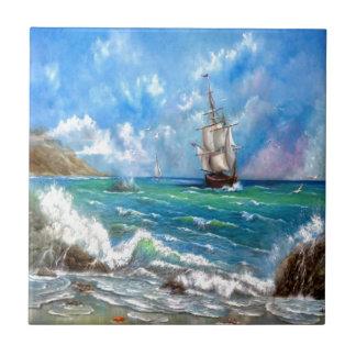 Diseño del paisaje marino del velero azulejo de cerámica
