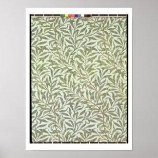 """""""Diseño del papel pintado de la rama del sauce"""", 1 Posters"""