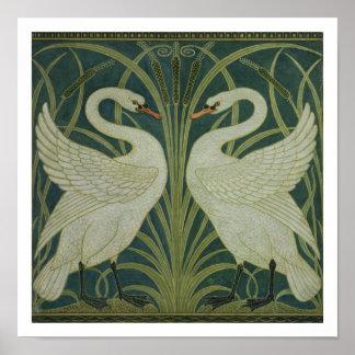 Diseño del papel pintado del cisne de la precipi impresiones