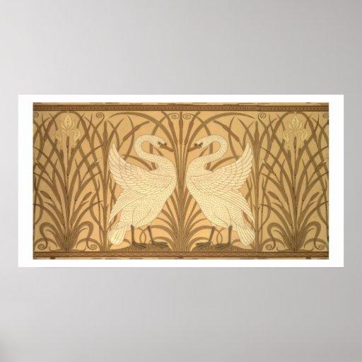 Diseño del papel pintado del cisne posters